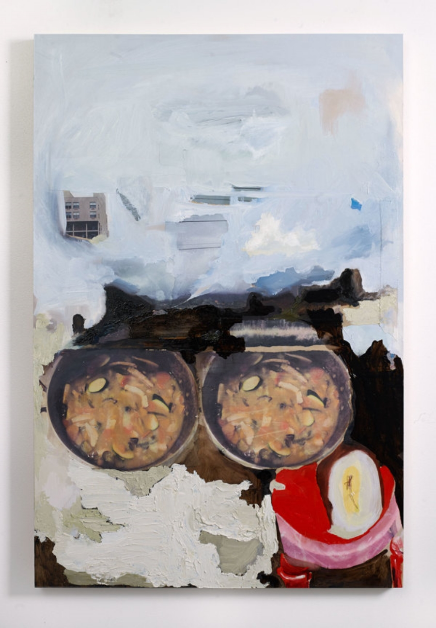 Soups of the Days    Oil, paper, copper wire on birch panel  24x36x1.5