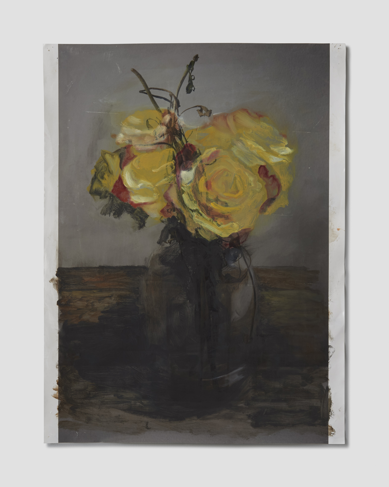 New Flowers Over Old Flowers    Oil on archival inkjet print  20x16
