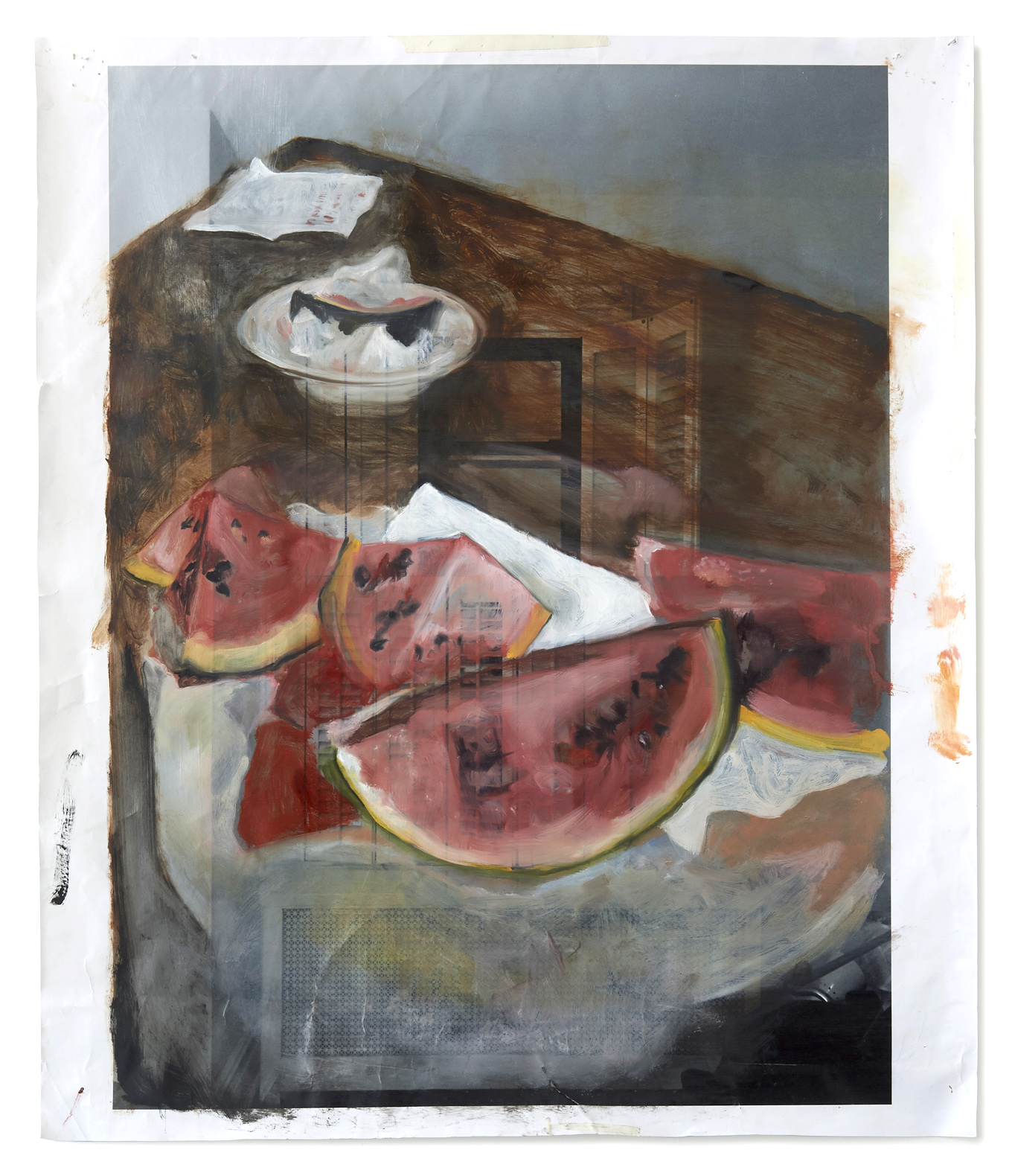 Watermelon in Living Quarters    Oil on archival inkjet print  28x24