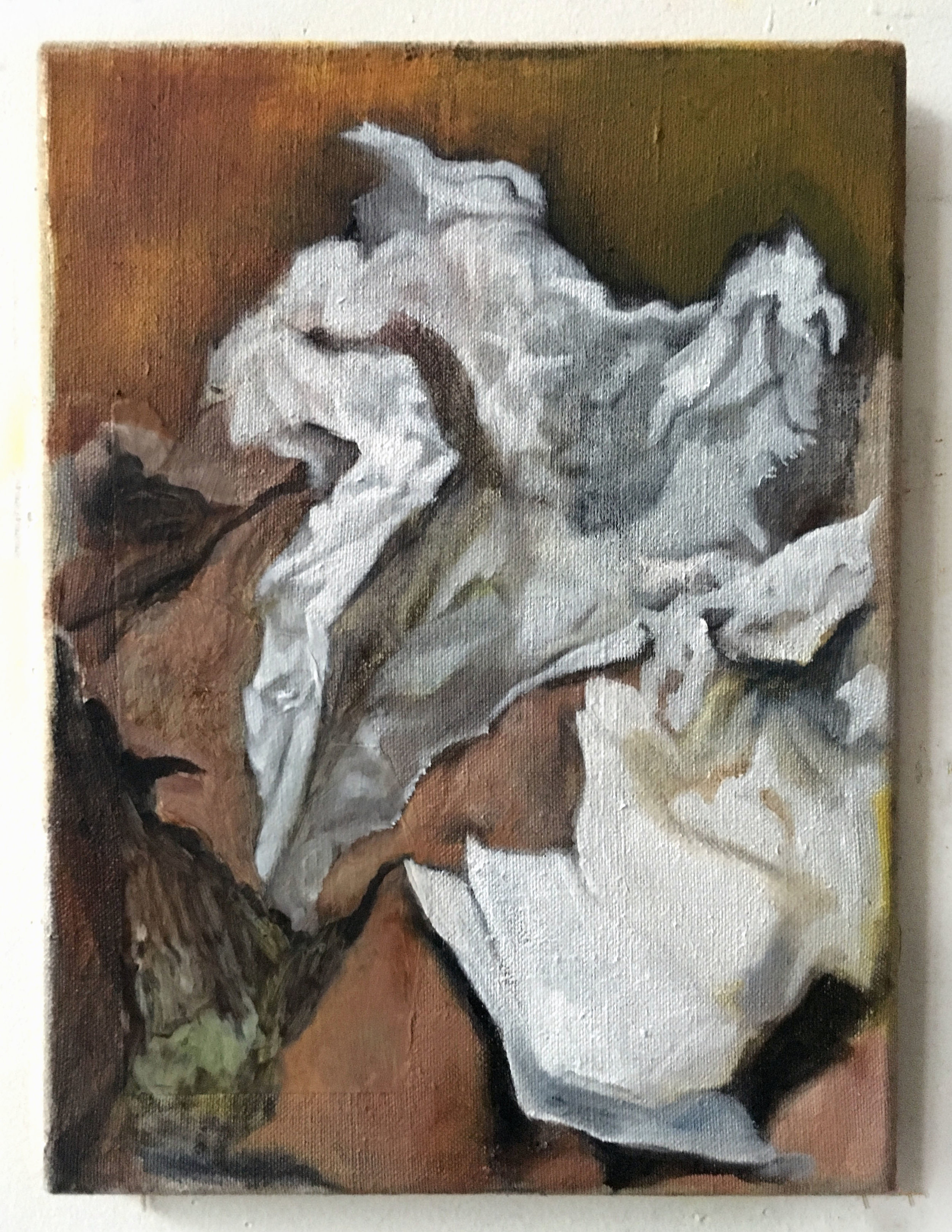 Lunch Papers    Oil on linen  12x9