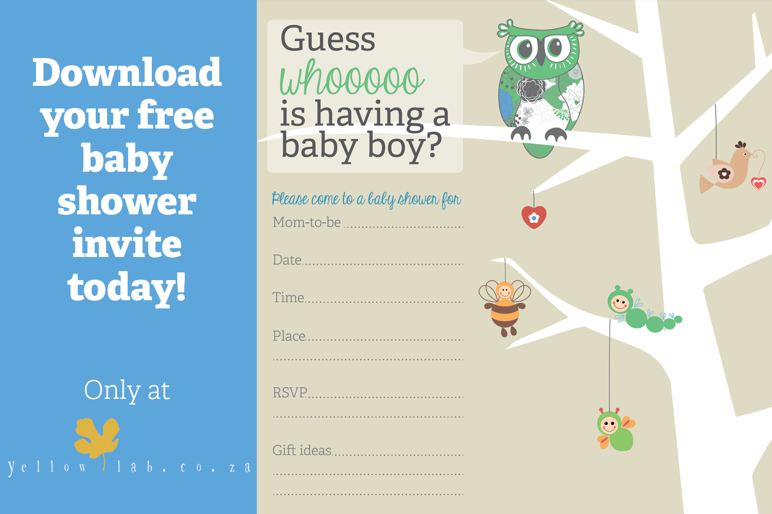 Click on this picture to download your free boy baby shower invite. {TIP Once you've right clicked on the image and a new window opens, right click on the picture and use Save Image As to save it to your desktop.}