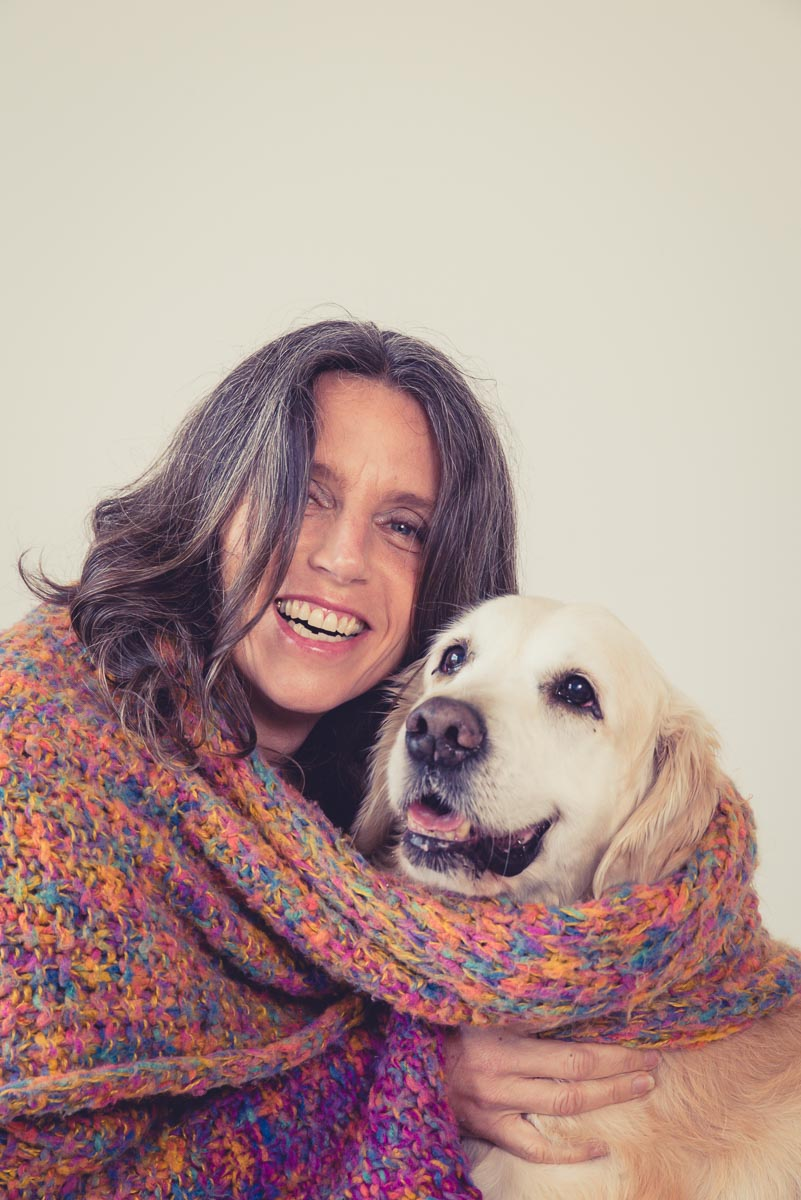 creative dog and owner portrait