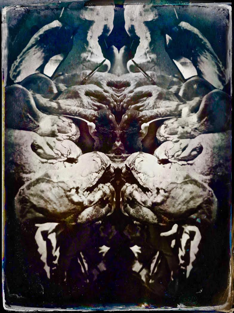 THE MONSTER (Now Able To Know Fear, We Become More Exalted Than Gods), photo on metal plate, 22 x 30 inches, 2018