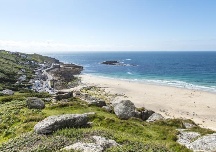 Huge blue rolling waves makes Sennen Cove Cornwall's western surf hotspot. The area comprises of a long sandy beach and a small harbour that is surrounded by cafes, restaurants and pubs.