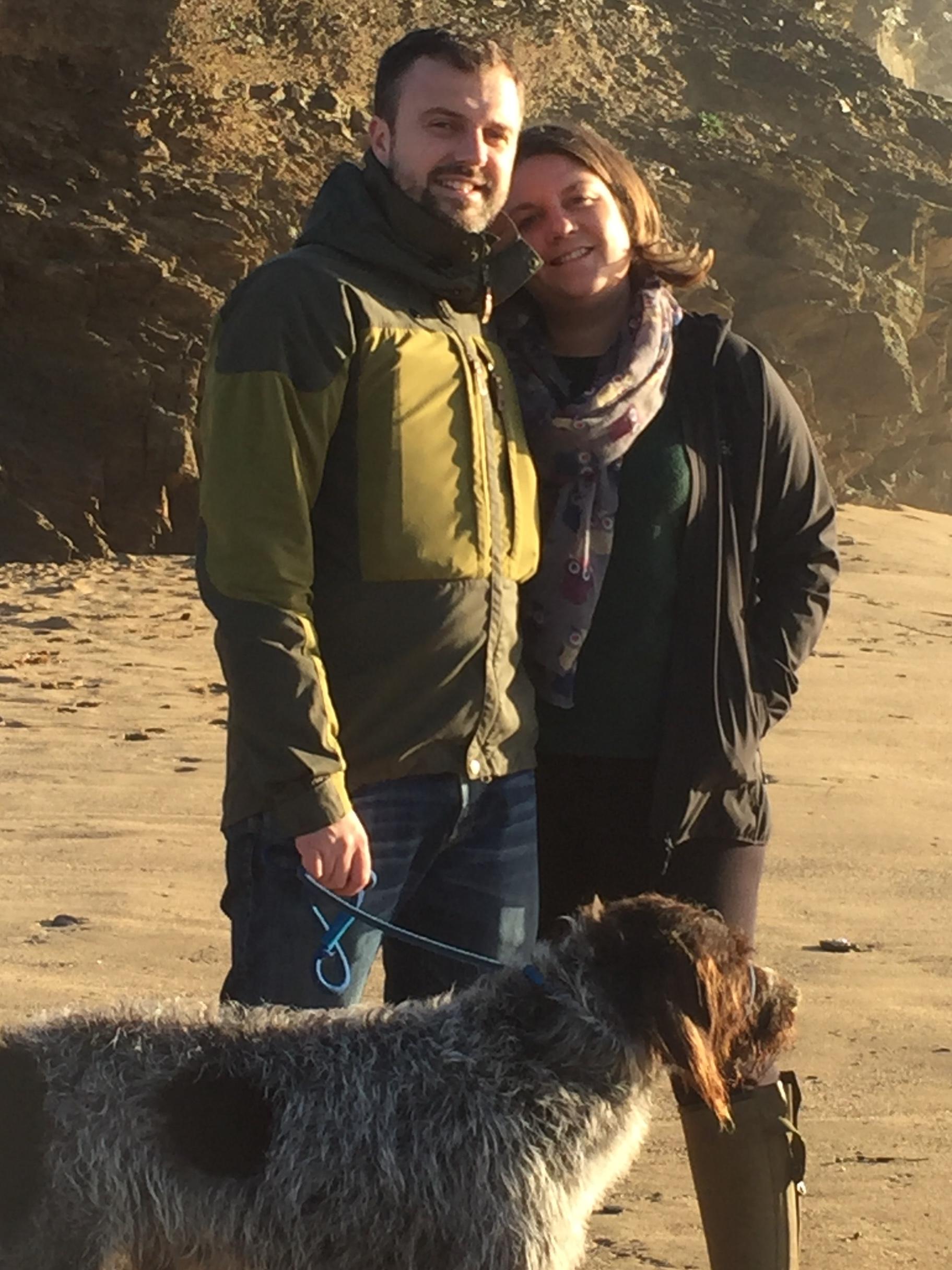 James & Sarah Coleman with Stan the dog.