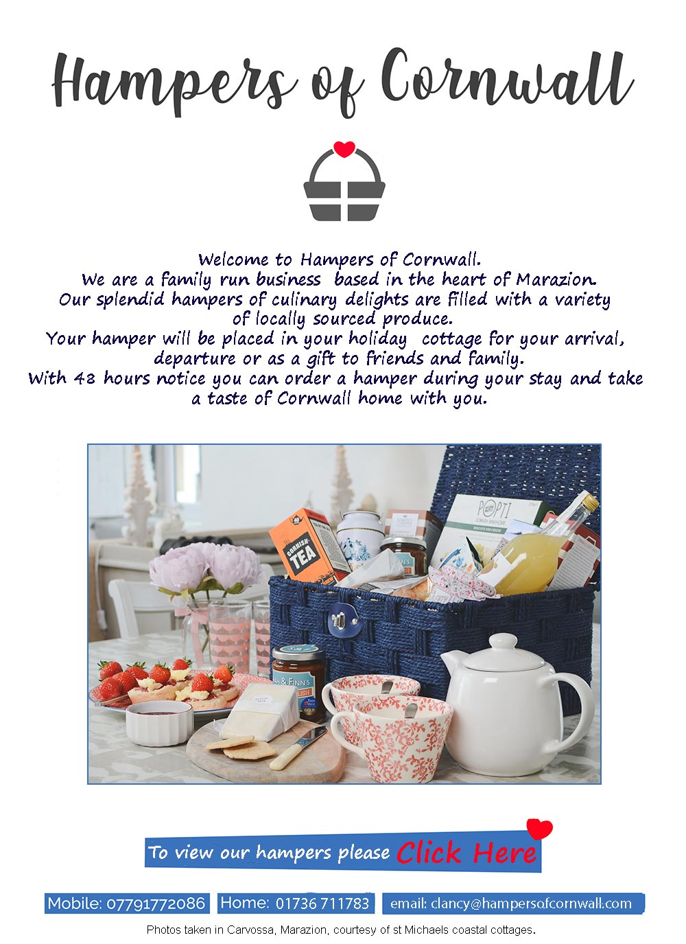 Treat yourself to a Cornish Hamper for your arrival or as a gift for friends. www.hampersofcornwall.com