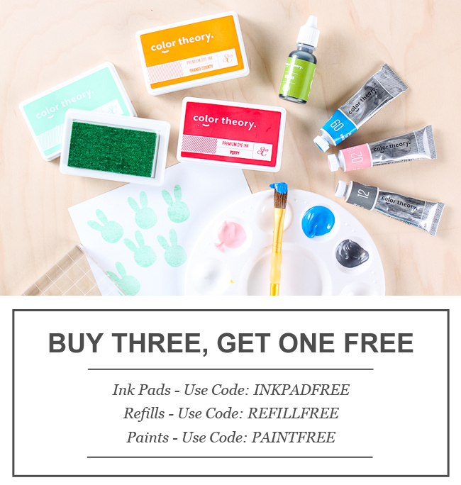 Not valid on previous purchases and must have Color Theory Class in cart for code to apply. Offer for buy three get one free only valid with purchase from the Color Theory     Ink Pads  ,   Paints   and   Refills   section of the shop. Code only applies to three items of the same type, quantities of three can not be mixed between   Ink Pads  ,   Refills   and   Paints    . Must enter code at checkout. Refunds will not be issued for misused or non-entered codes. Expires 2/8/2015 at 11:59pm EST. This offer is valid while supplies last.