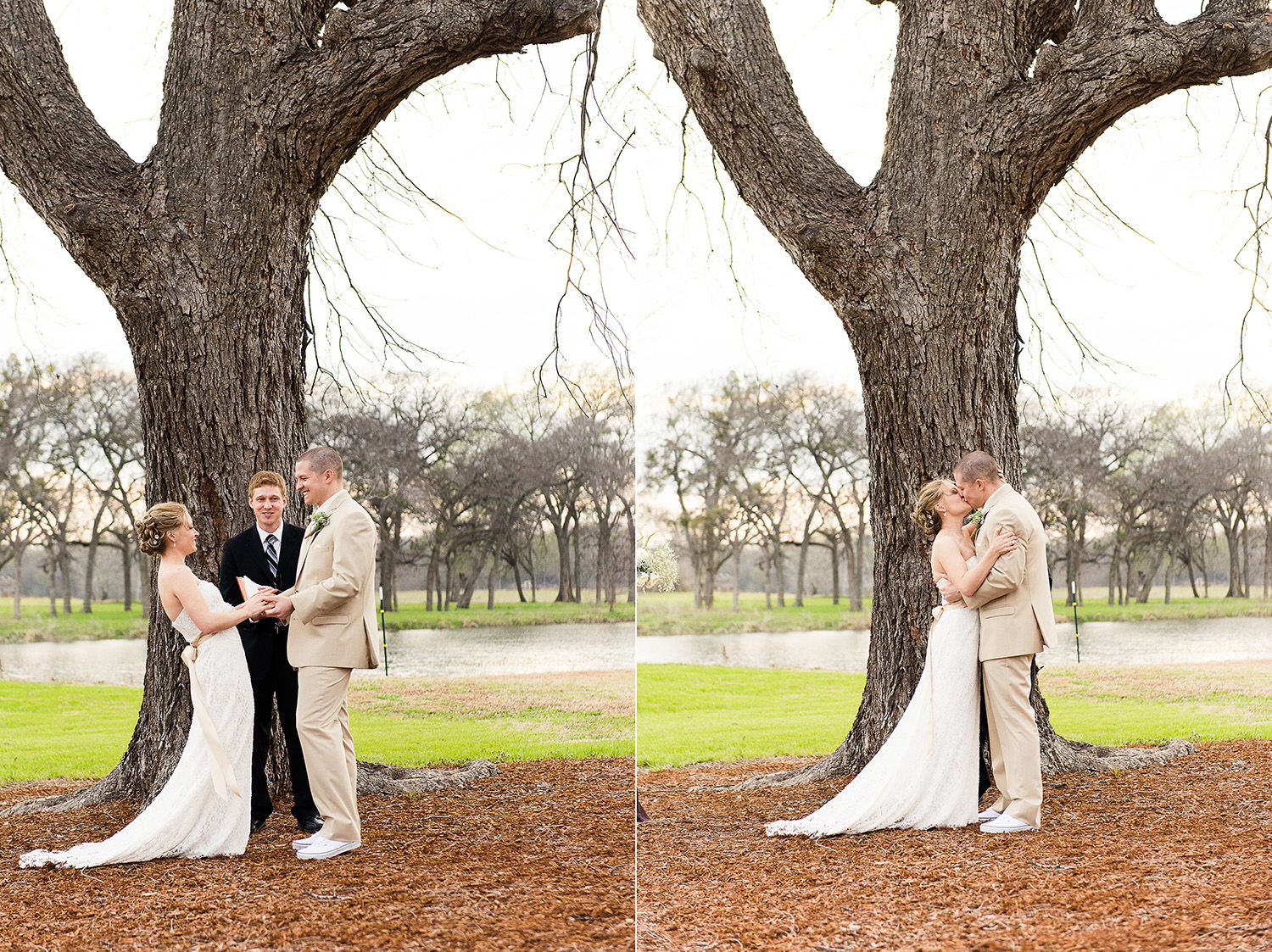 This wedding was the first weekend of March. The grass had sort of started to turn green but the trees were still wintery looking. This ceremony was about 1.5 hours before sunset and there was quite a bit of cloud cover. This would look much different in the summer/fall.