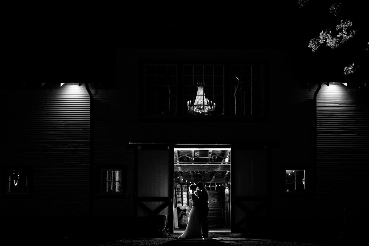 black and white portrait night