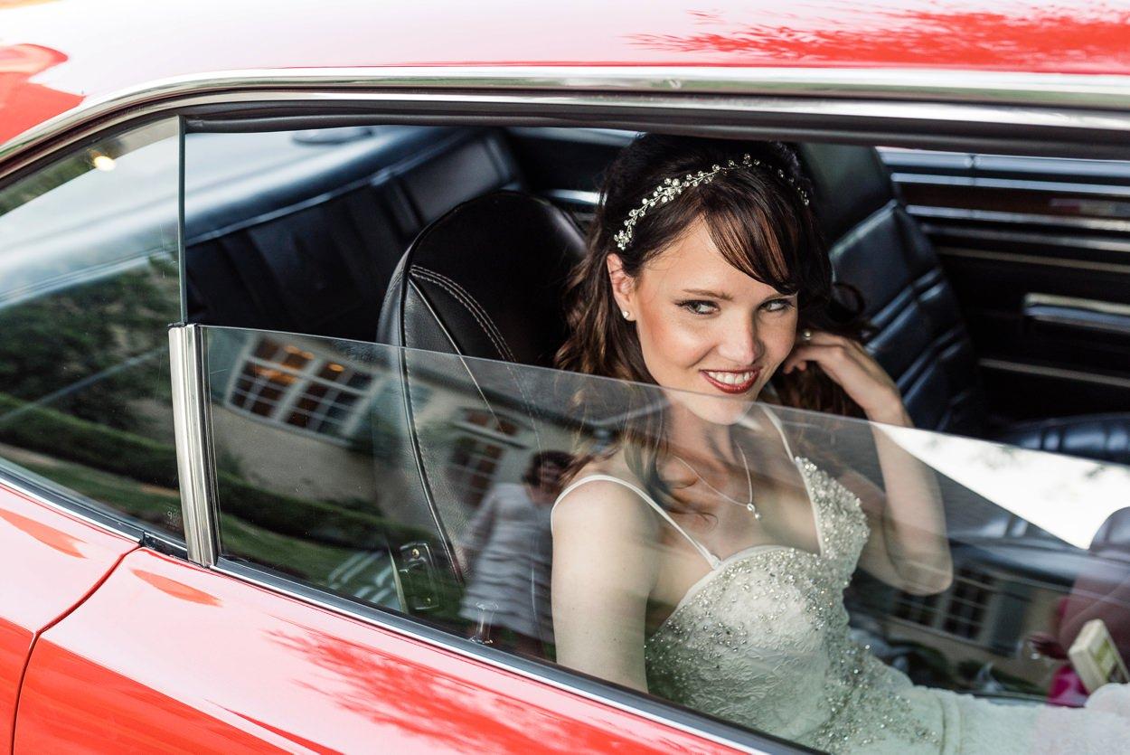 getaway car at oklahoma wedding springtime