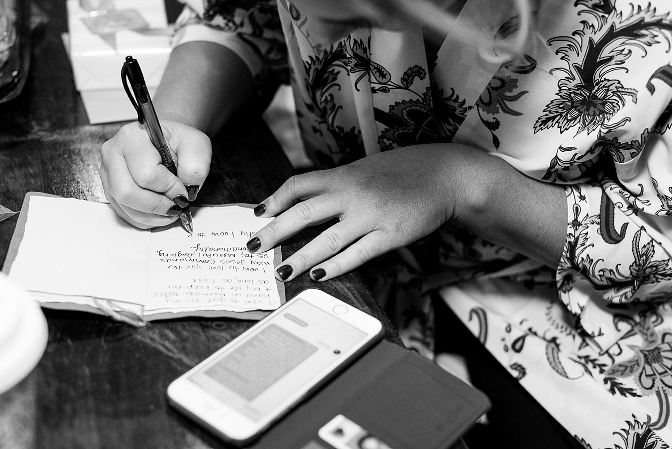 bride writing letter to groom