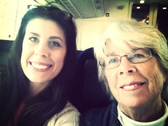 Me and my mom on a train travelling in Sweden - 2013