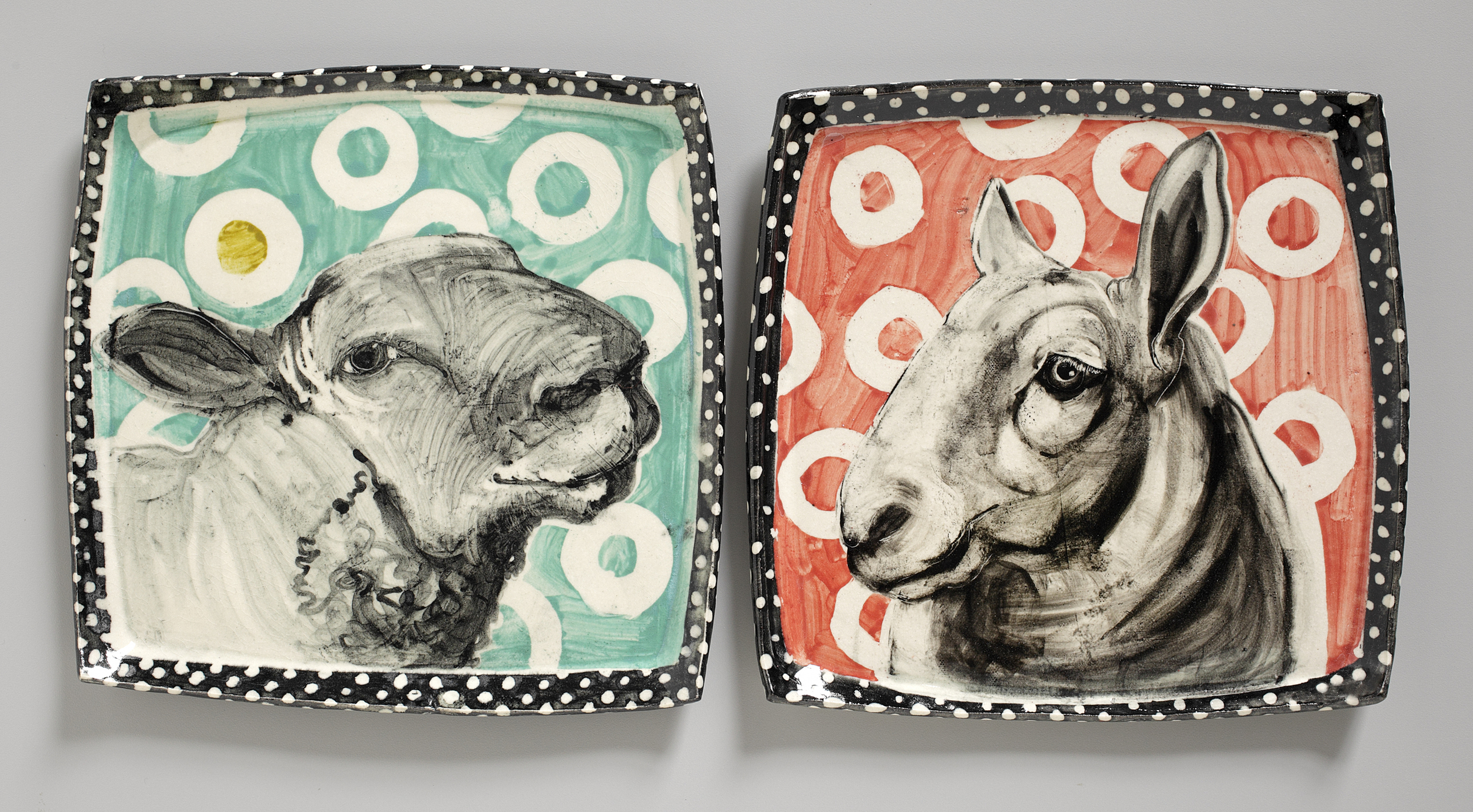 two sheep plates