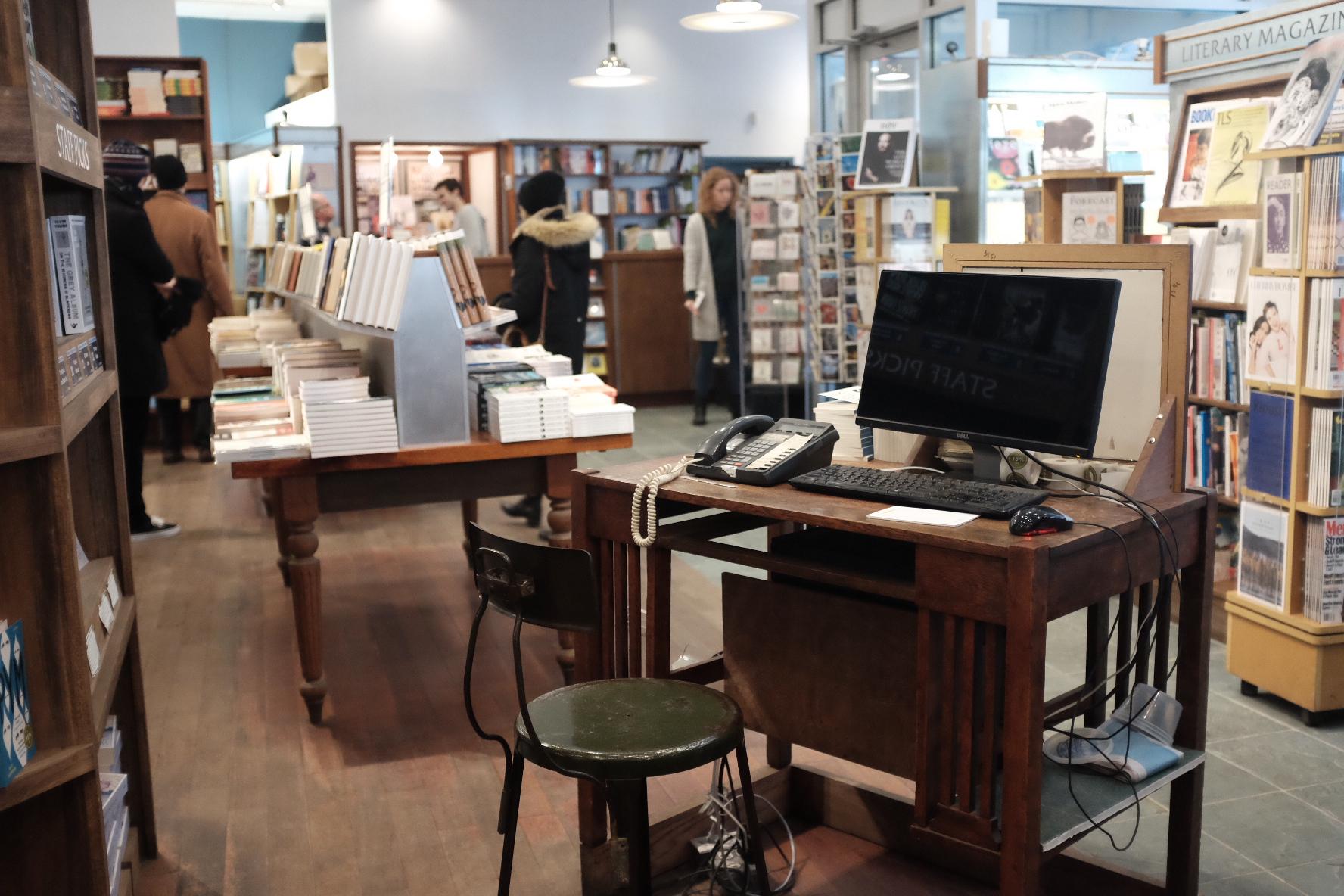 Information desk at McNally Jackson Books   Photo: Jinglu Huang