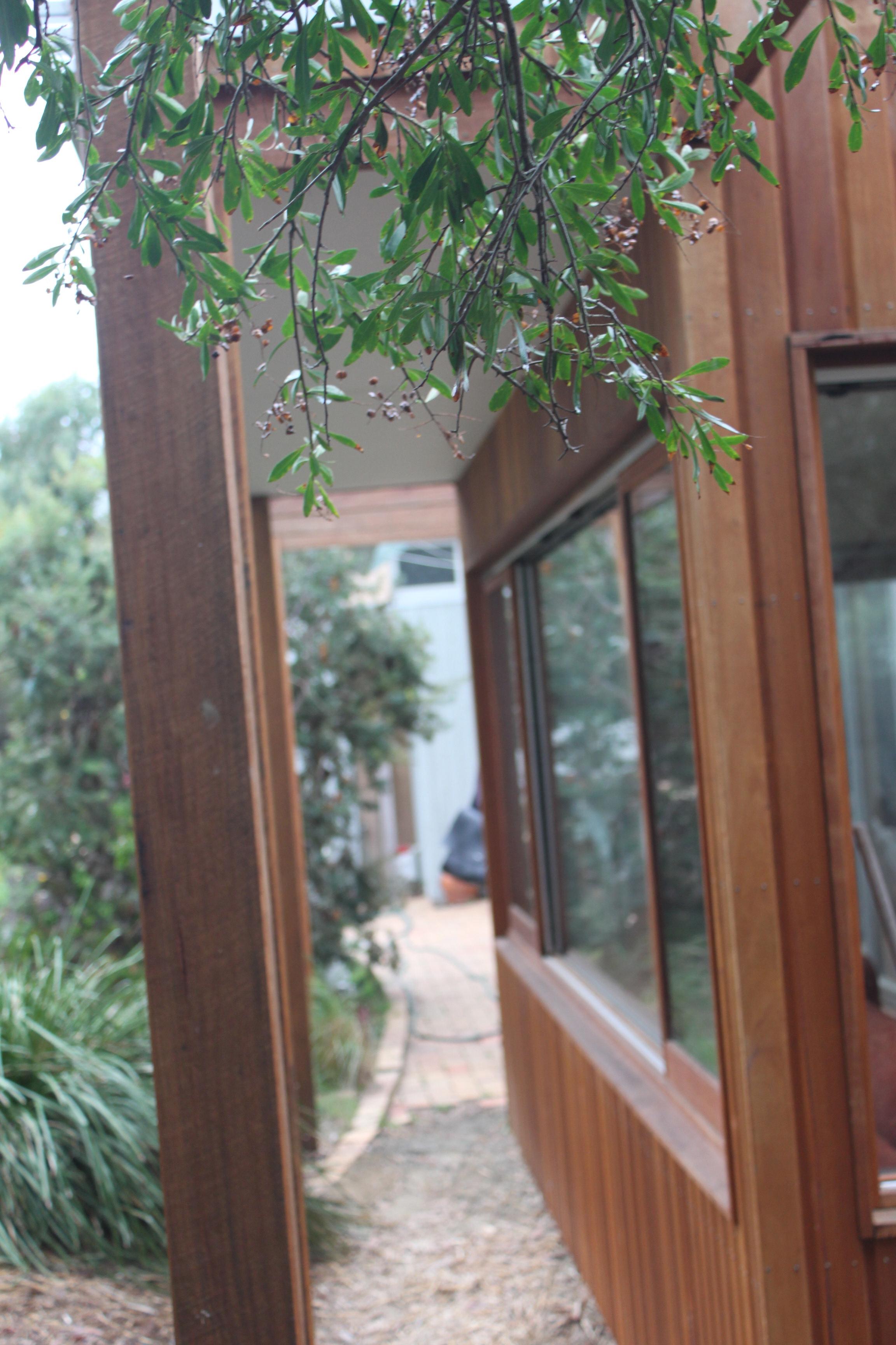 Reclaimed timber pergola detail