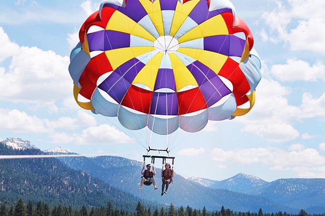 ♥️💛There is no one else I'd rather sail through life with. 💜💙 . .. #husband #love #tahoe #laketahoe #parasailing #adventure #travel #shawnatravels #blue