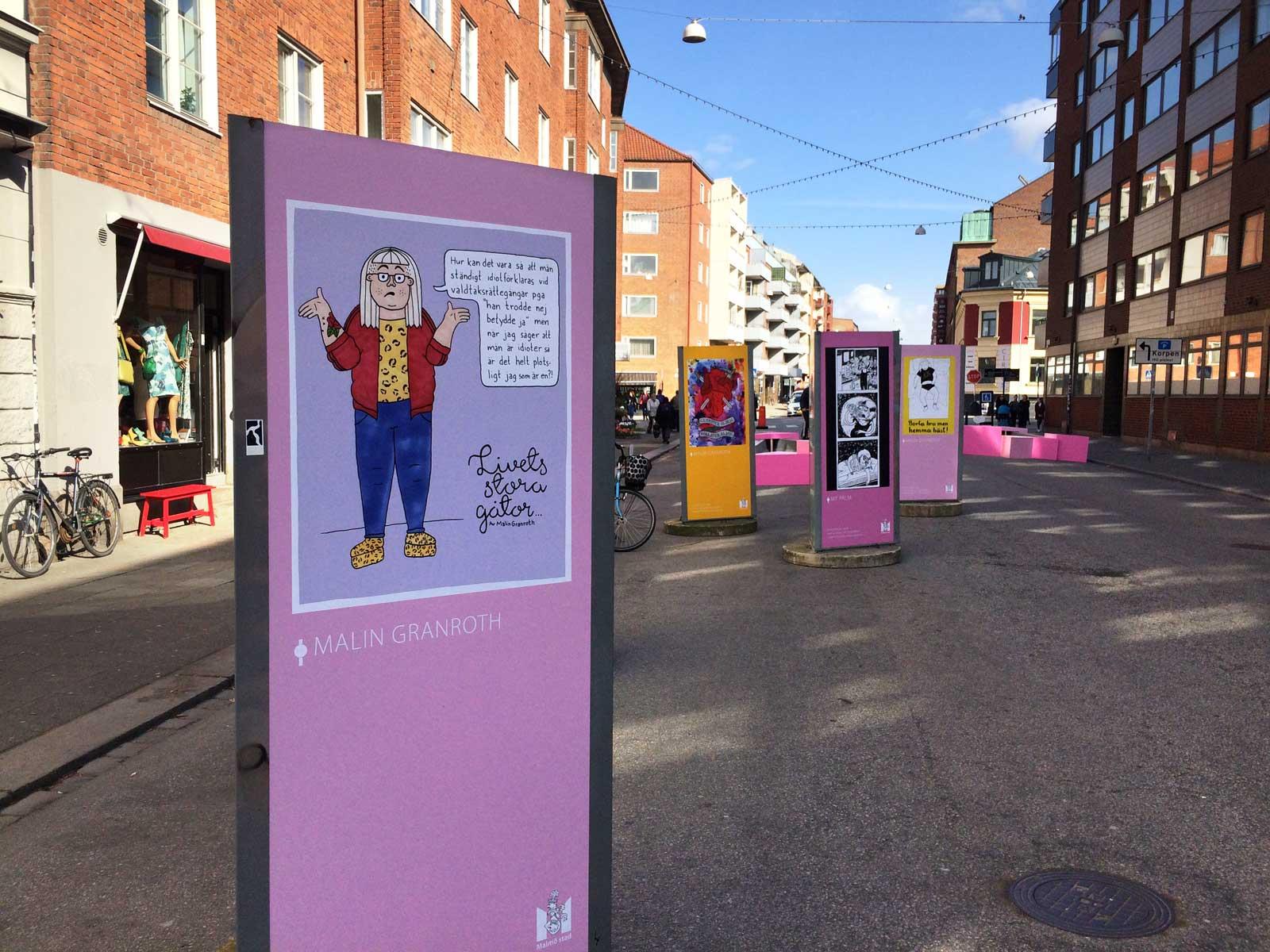 Serieskolans utställning, Friisgatan, Malmö.