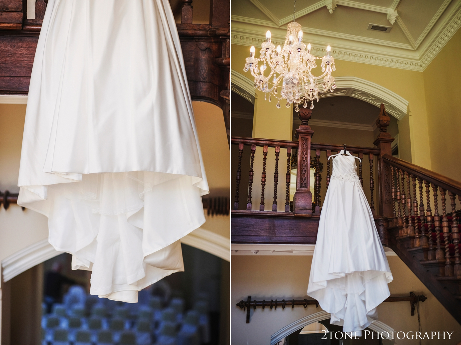 I love to be a little more bold and creative and so with Brian and June on door watch, I was able to create these images of Emma's magnificent wedding dress hung from the gorgeous grand staircase in Middleton Hall.