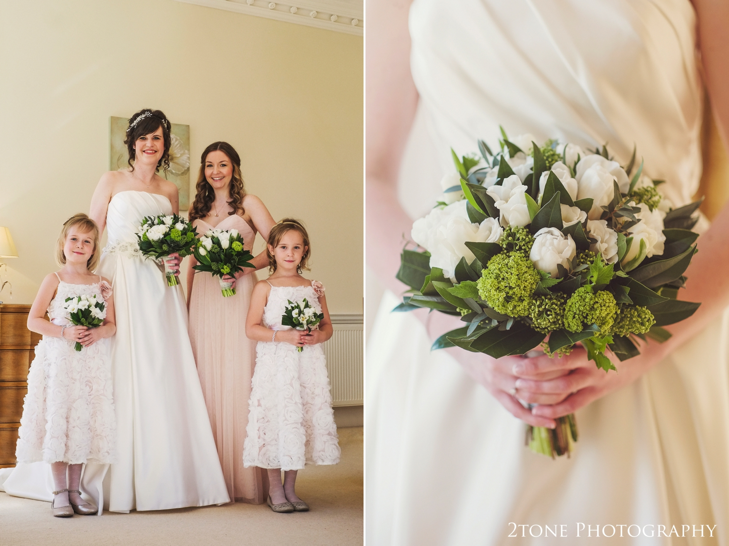 The green and white colours of the bouquets worked beautifully with the very pale blush and peach tones of the bridesmaids dresses.