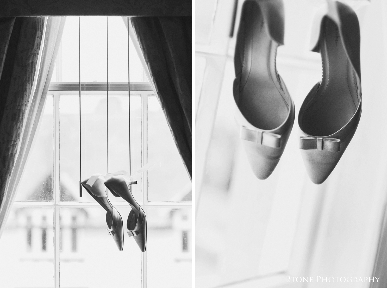 Sarah's wedding shoes by Rainbow hanging in the windows of the Royal County Marriott Hotel in Durham.