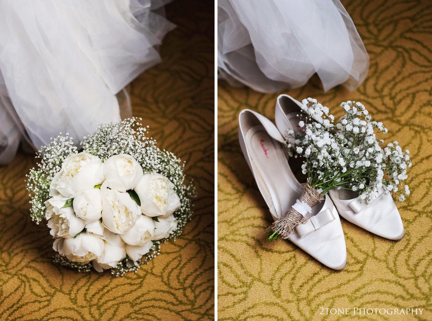 Sarah chose low heeled Rainbow wedding shoes and a beautiful combination of Peonie Roses and Gypsophila for her wedding bouquet.