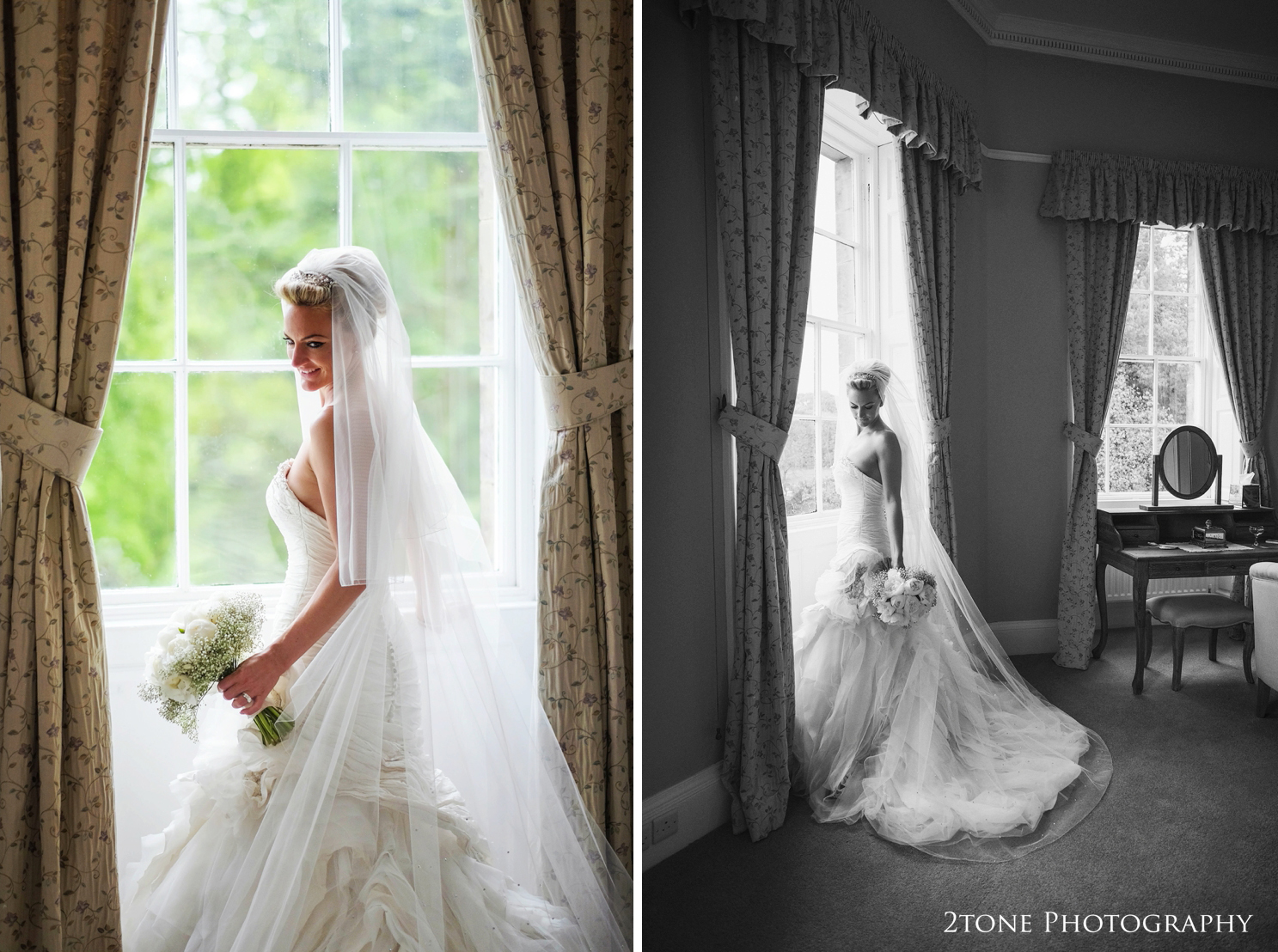 Bride in Ian Stuart wedding gown at Middleton Lodge.  Wedding photography by www.2tonephotography.co.uk