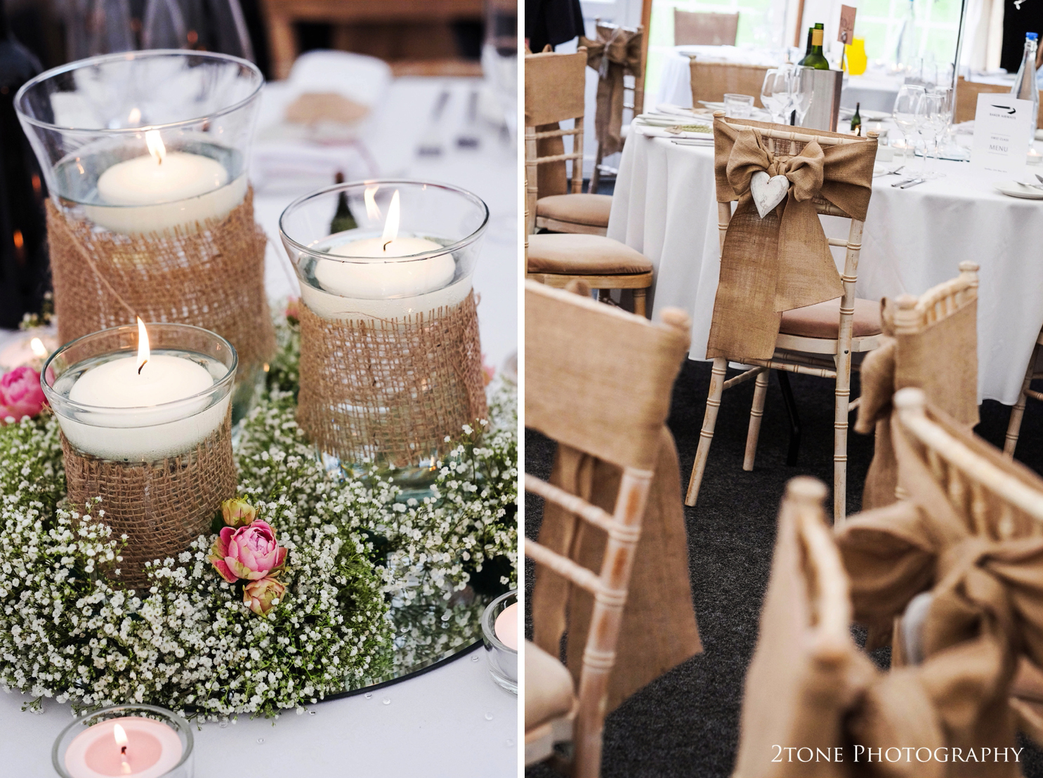 Sarah and Christian chose hessian and gypsophila table decorations and hessian chair sashes with cute carved wooden hearts.  Their table names were based upon the county's that they have visited together and their menu's were created to look like an airline menu - Baker airlines.