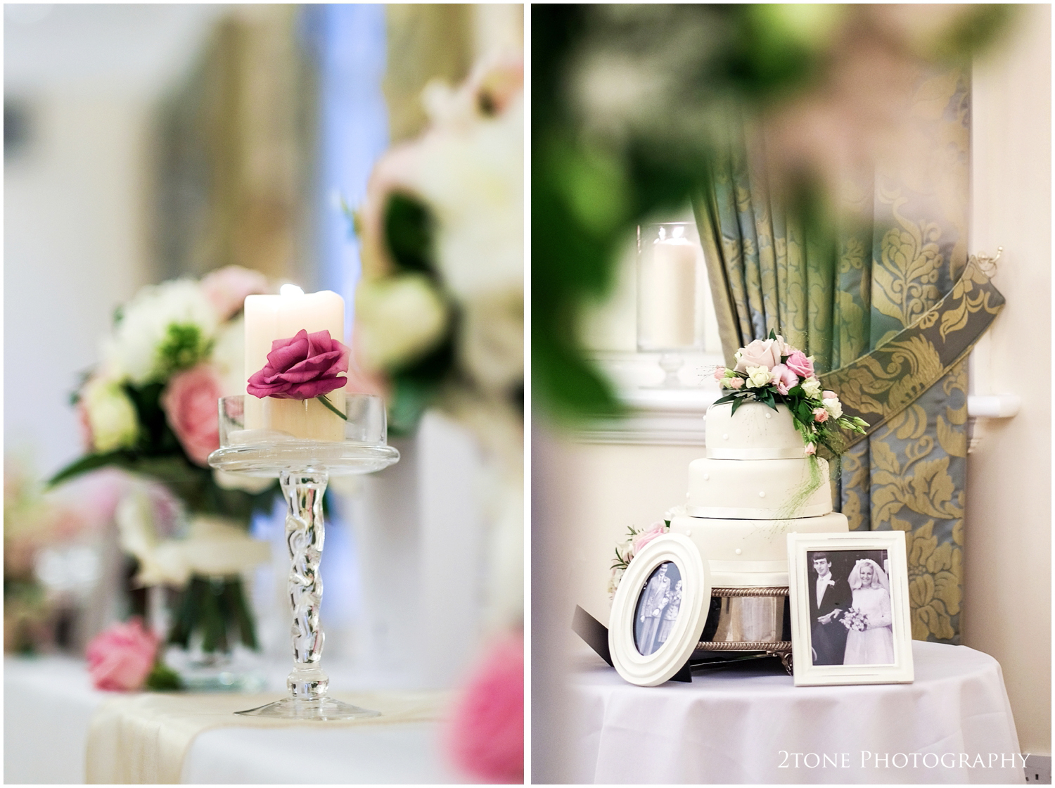 A little nostalgia added for good measure with photographs next to the wedding cake of both of their parents on their wedding days.