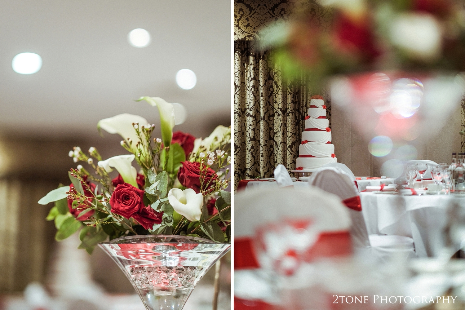 Hannah and Paul chose a whopping six tier wedding cake trimmed with red ribbon, red sugar paste flowers and a beautiful iced white ribbon winding it's way down. It was elegant and sophisticated and smelled incredible.
