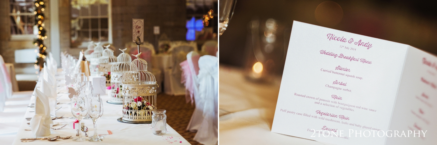 Nicola and Andy dressed the tables in the Bigge suite in Linden Hall with fresh white linen, alternating pink and white organza chair sashes, bird cages filled with pink and white flowers on the tables and fairy lights wound around the pillars.