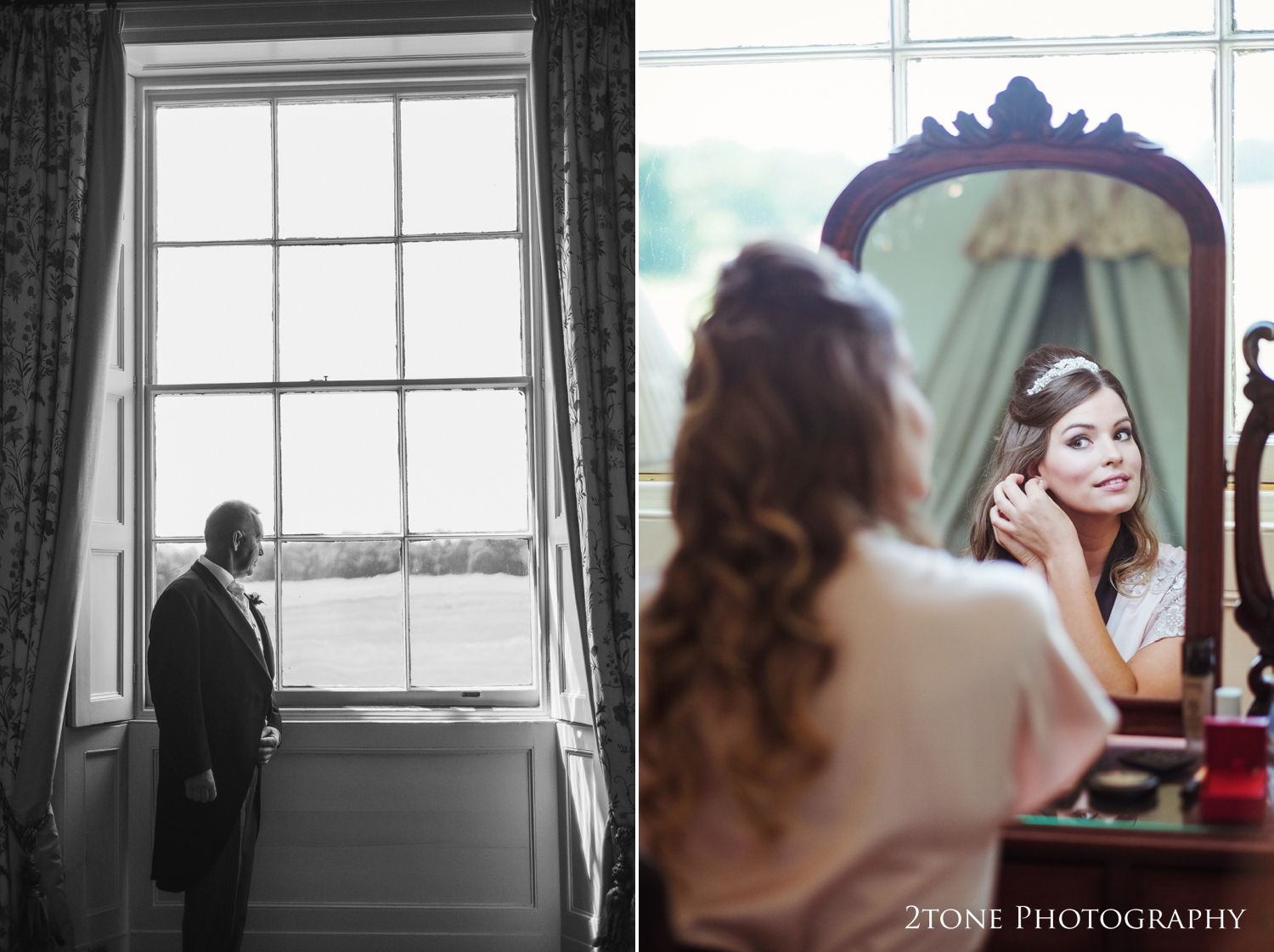 Bridal preparations and Brides father in the Frances Anne suite at Wynyard Hall.  Wedding photography by www.2tonephotography.co.uk