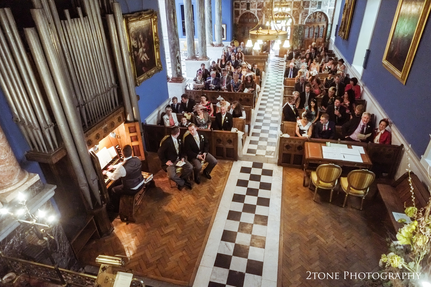 The stunning chapel originally build as a place of personal worship for the Marquesses of Londonderry is decorated in blue, blue marble and gold.  Wonderfully romantic, it makes the perfect setting for a wedding.