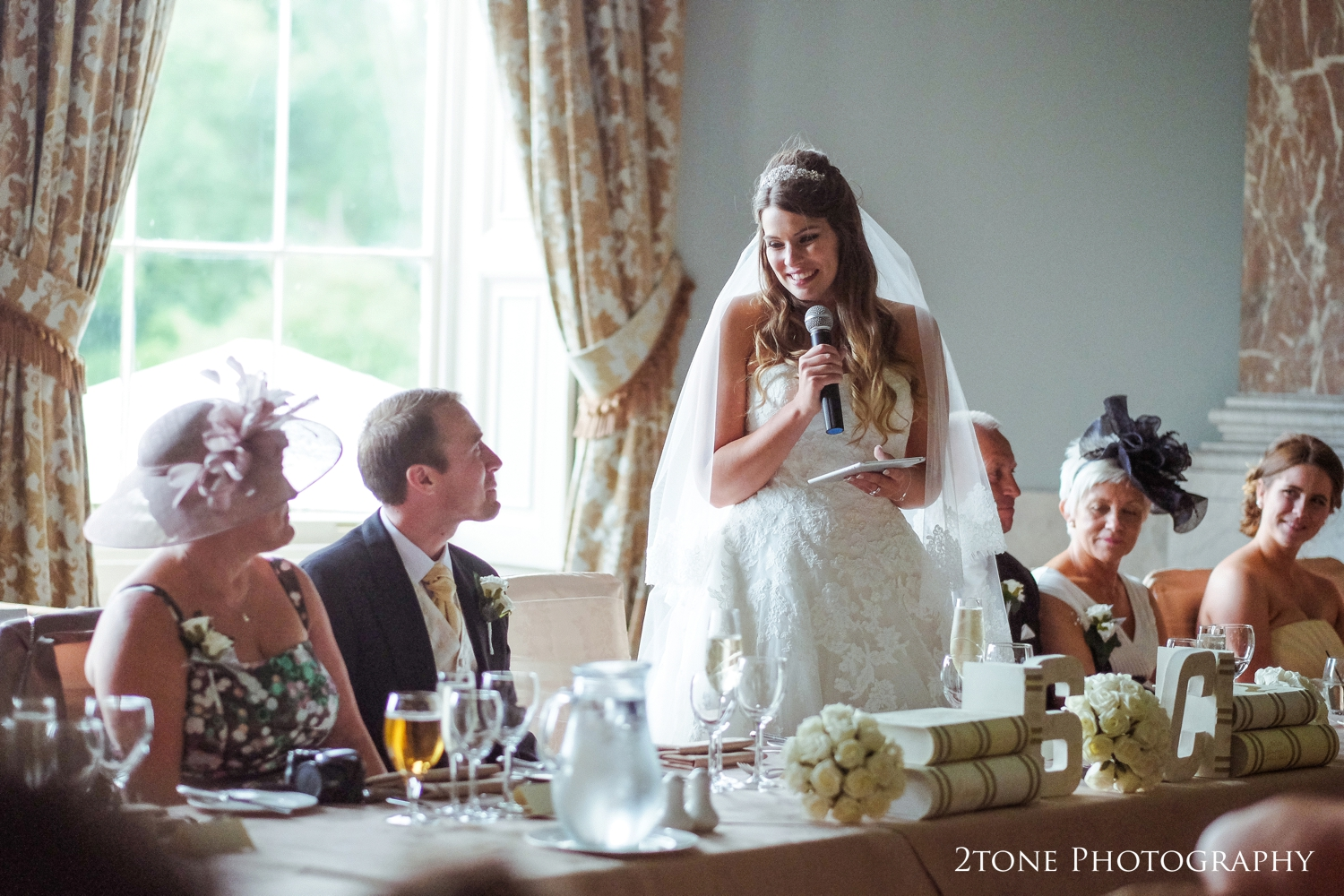 Bride's speech at Wynyard Hall.  Wedding photography by www.2tonephotography.co.uk