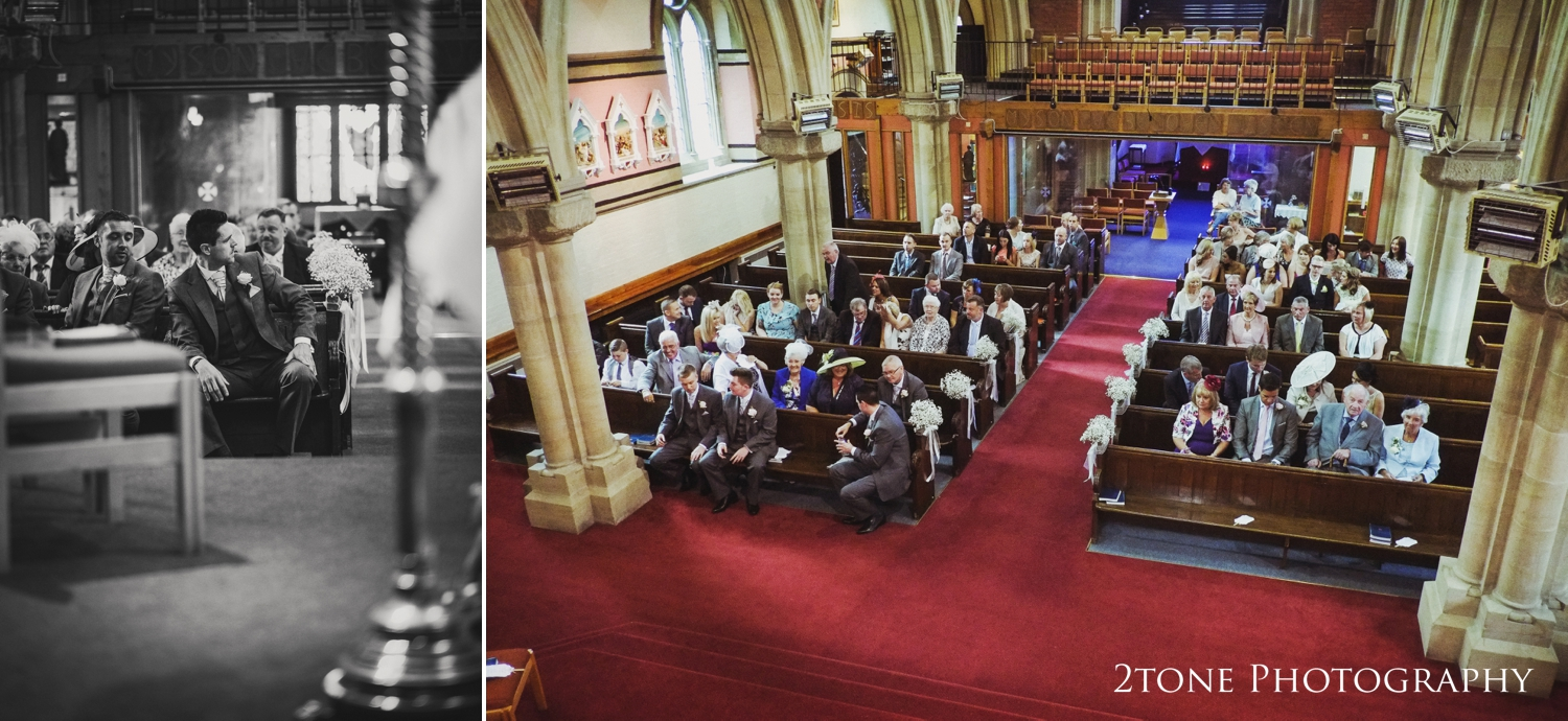 One of Nigel's arial shots sets the scene for the wedding ceremony atthe SacredHeart church with it's wide aisle and looming pillars.