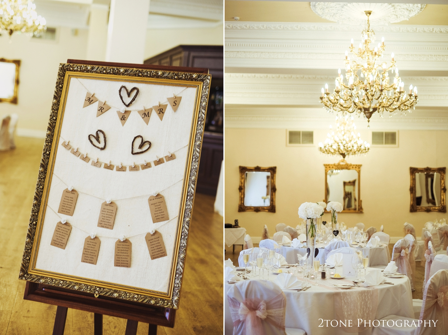 Laura and Simon chose a classic and fresh theme for their wedding breakfast using whitehydrangeasin tall glass vases, lace table runners and chair tiesand chalk board table names.