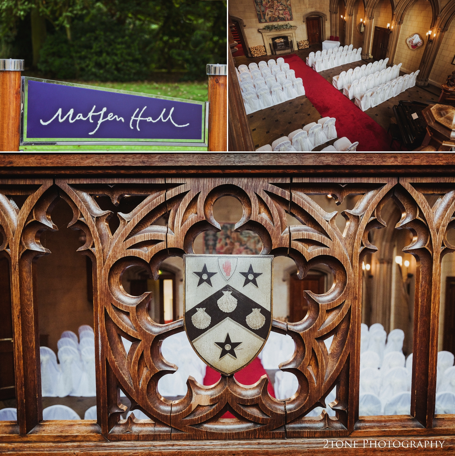 Natalie and Russell told me that Matfen Hall's gothic great hall with it'stowering stained glass window, grand staircase and architectural stone archesreminded them of the ballroom indisney's classic 'Beauty and the Beast' and as soon as they stepped inside, they knew it would be the perfect place for their wedding.