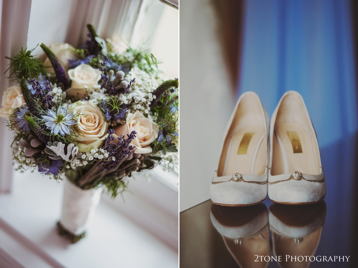 Natalie chose tones ofbeautiful cornflower blue for her bouquet and bridesmaids dresses keeping within the theme of the day.