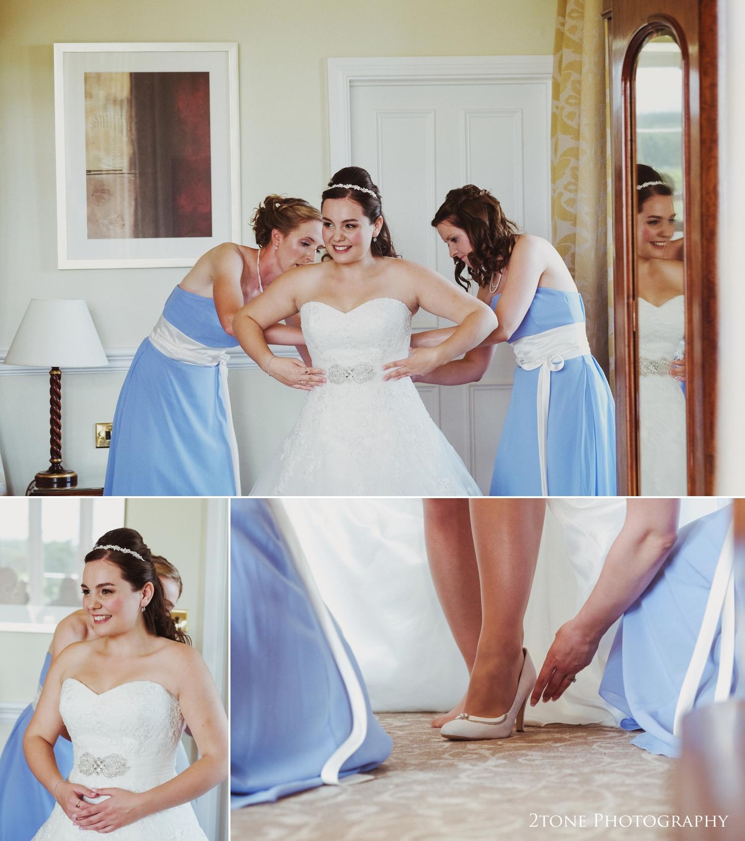 The girls getting ready.  Matfen Hall wedding photography by award winning durham wedding photographer www.2tonephotography.co.uk