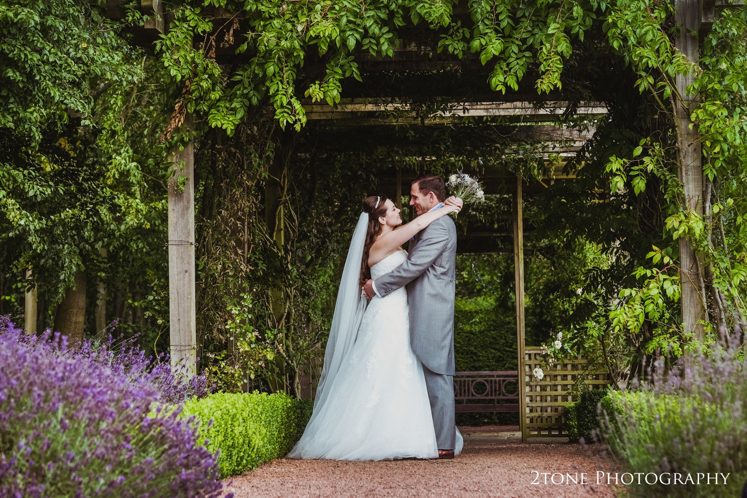 Matfen Hall's lavender was perfectly in bloom for their mid August wedding.