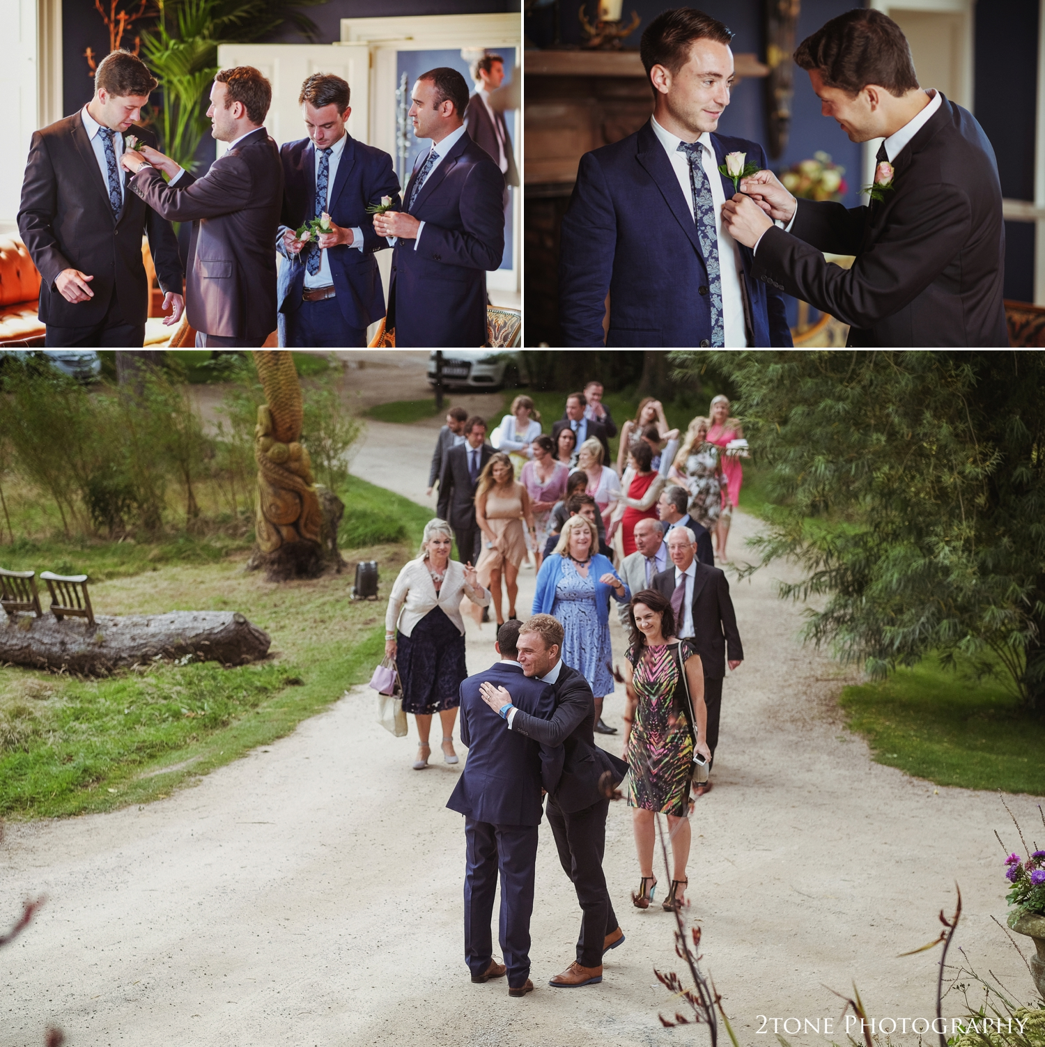 Back to Newton Hall in time the greet their wedding guests.