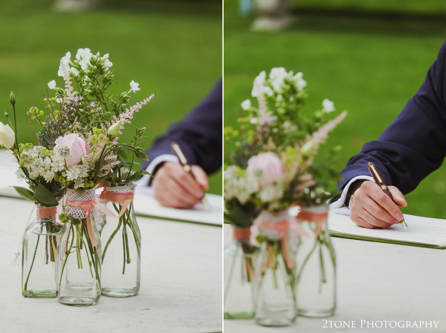 Bottles and jars instead of vases trimmed with ribbon and lace suited the handpicked look of the flowers.