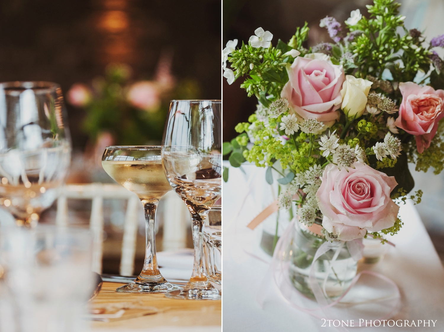 Pretty blooms tied with ribbon and lace adorn the tables