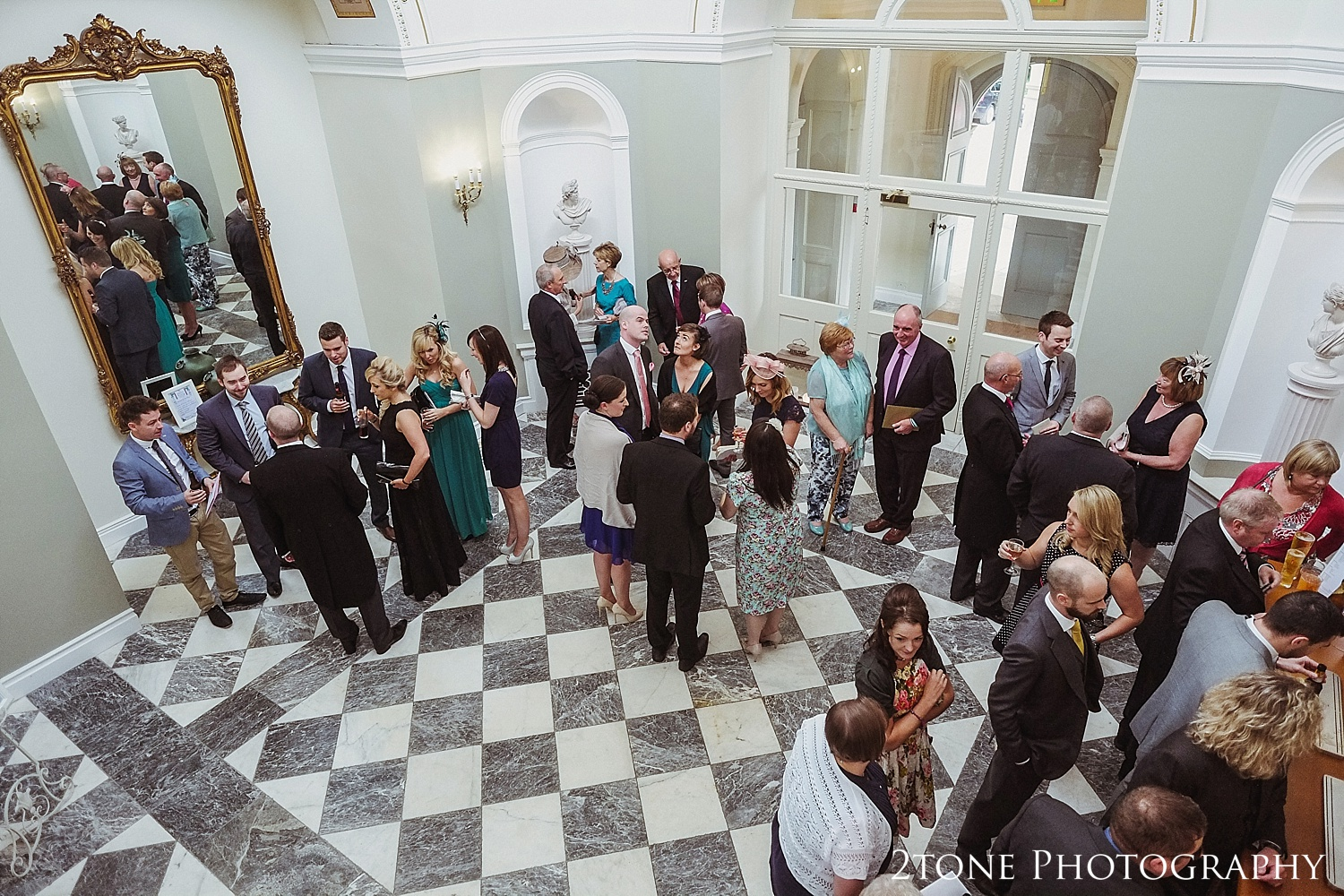 Guests arrive through Lartington Hall's grand entrance.
