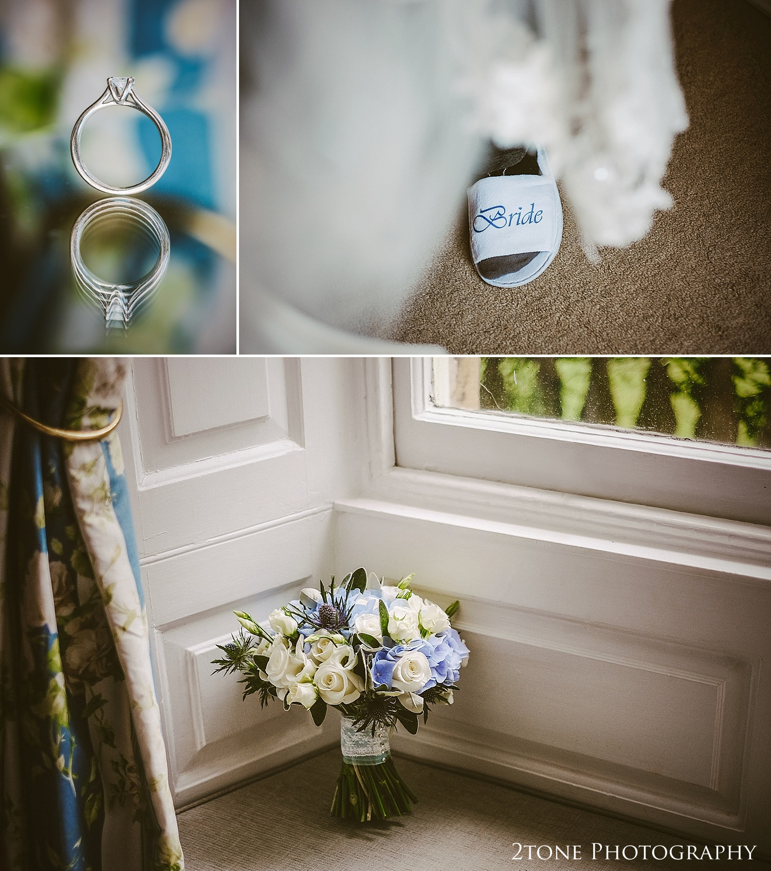 I took my time to carefully photograph Samantha's beautiful wedding details, her beautiful engagement ring, her stunning bouquet of roses and hydrangeas and her lace detailed shoes and veil.