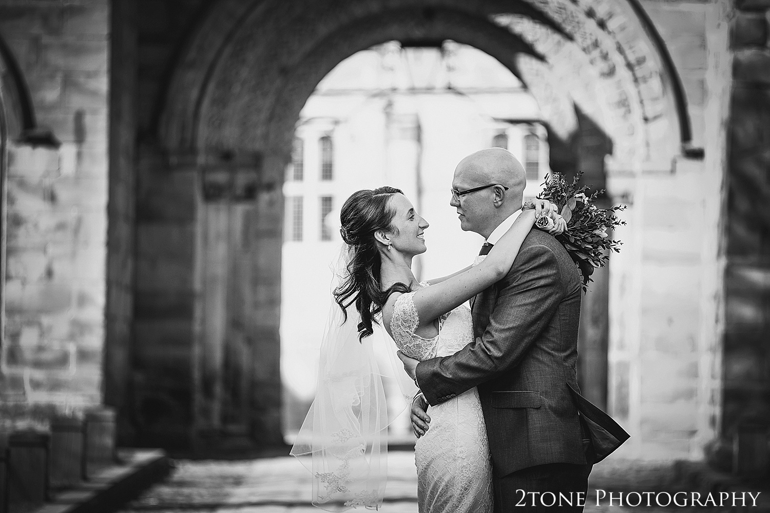 Bride and Groom portrait.  Durham Castle wedding Photography by Durham and Newcastle wedding photographer www.2tonephotography.co.uk