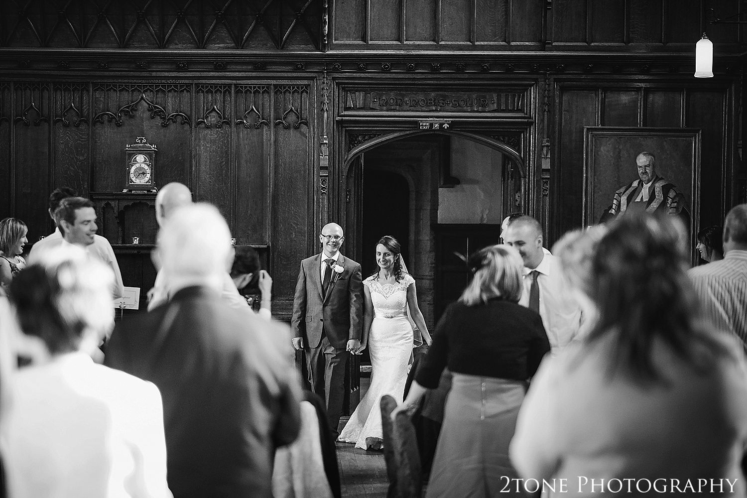Bride and Groom entrance.  Durham Castle wedding Photography by Durham and Newcastle wedding photographer www.2tonephotography.co.uk