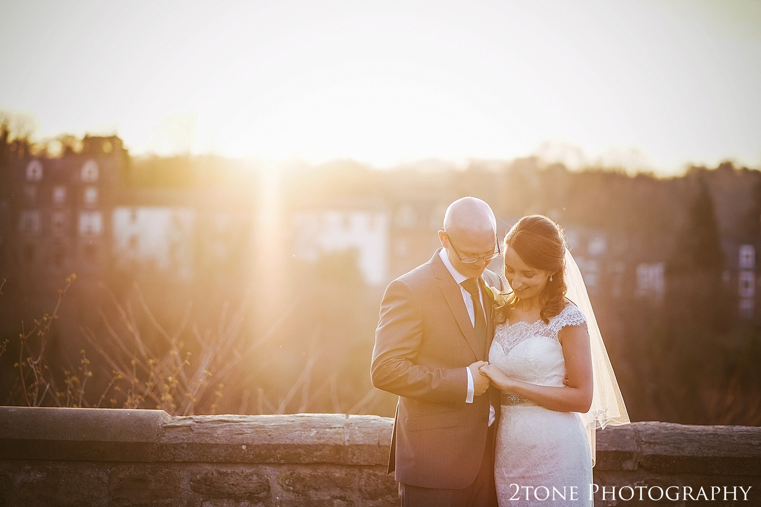 Bridal and Groom golden hour portrait.  Durham Castle wedding Photography by Durham and Newcastle wedding photographer www.2tonephotography.co.uk