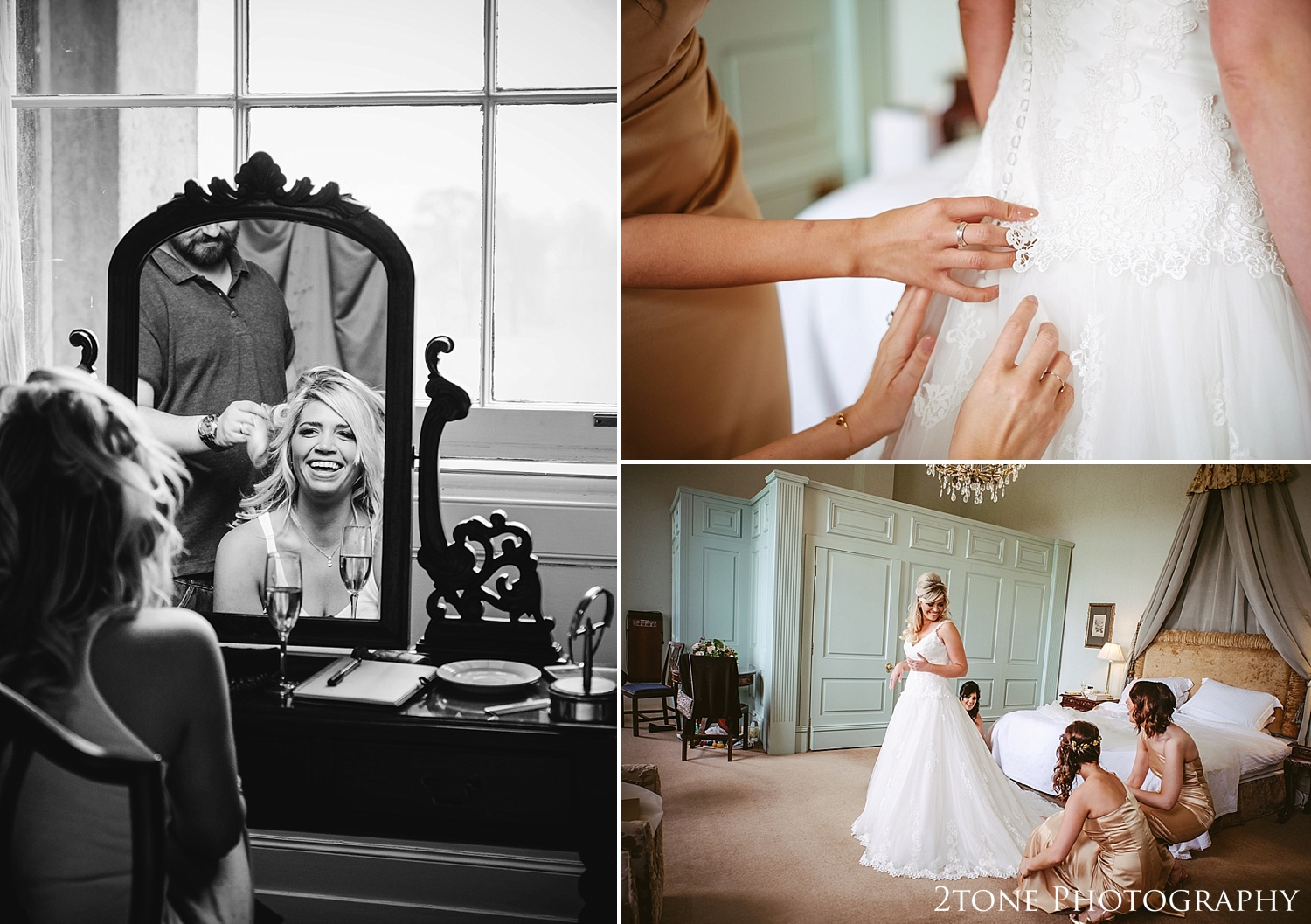 Bridal preparations.  Wynyard Hall wedding photography by www.2tonephotography.co.uk