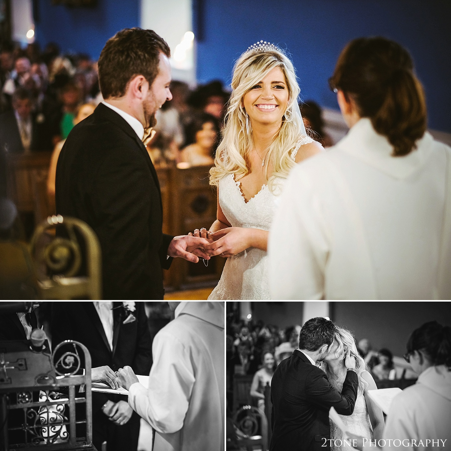 The exchange of the rings.  Wynyard Hall wedding photography by www.2tonephotography.co.uk