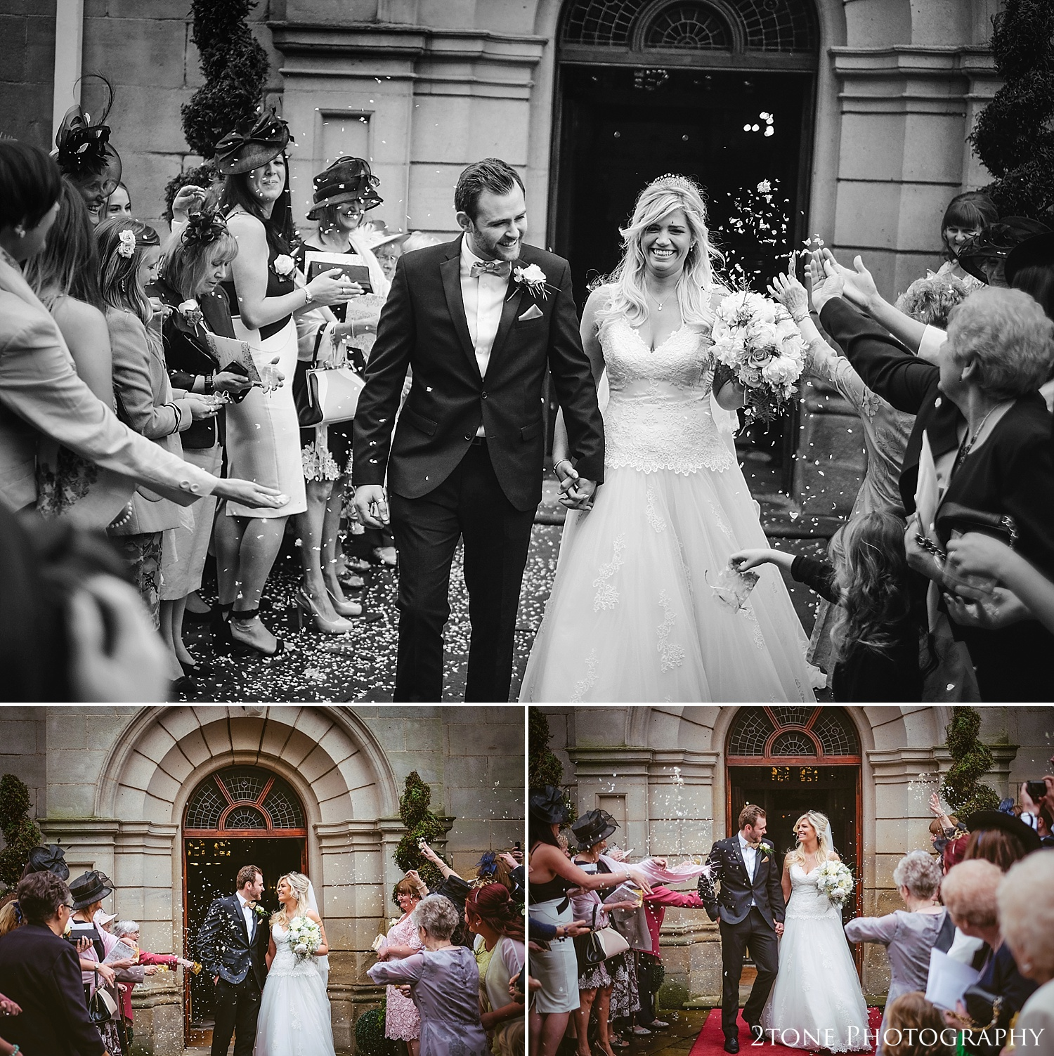 Wedding day confetti at Wynyard Hall.  Wynyard Hall wedding photography by www.2tonephotography.co.uk